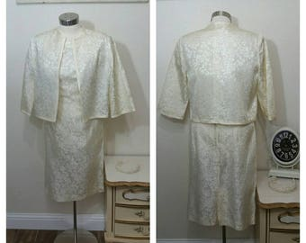 1950s Cocktail or Wedding Dress with Matching Jacket, Cream Brocade, S/M