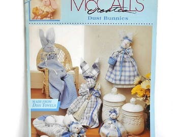 Rabbit Pattern No Sew Vintage McCalls  Make from DISH TOWELS Fabric Craft Bunny Easy Home Decor, Dust Bunnies 1992