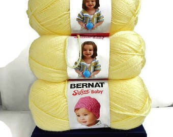 Bernat Softee Baby Yarn Lot YELLOW Lemon Super Soft New 5 Balls Skeins 5 oz Acrylic Crochet Knitting