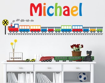 Train Wall Decal, Boys Train Monogram Wall Decal, M117