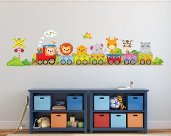Train Wall Decal, Kids Wall Decals, REUSABLE Fabric Wall Decals for Kids, Boys Decal, A246