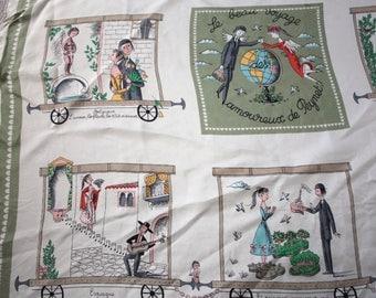 RARE Vintage 1950s Raymond Peynet Souvenir Scarf   50s Le Beau Voyage Amoureux de Peynet Storybook Cartoon   French Couple in Love
