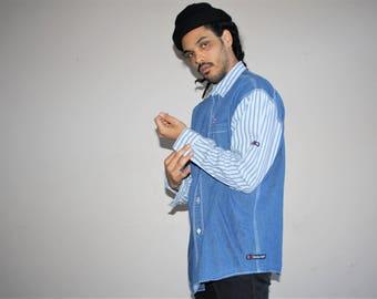 Bugle Boy Denim Long Sleeve Striped Hip Hop Rap Fresh Prince 90s Men's Button Up Dress Shirt - MV0429