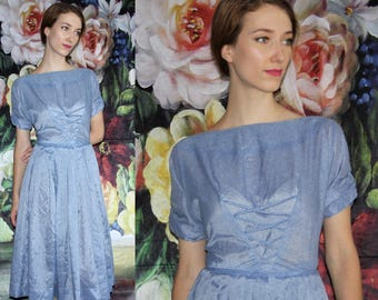 Vintage 1950s Blue Semi-Sheer Pinup Bombshell Cupcake Prom Wedding Dress - 50s Dresses - WV0488