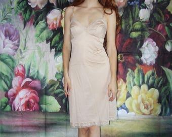 Vintage 1990s Nude Lace Bodycon Lingerie Slip Dress - 90s Lingerie Dresses - 90s Clothing - WV0562