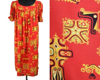 60s TIKI PRINT MUUMUU—Red and Yellow—Puff Sleeves—Made in Hawaii—Free Size