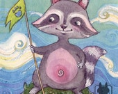 Watercolor raccoon illustration - childrens wall decor - small original artwork - nursery decor - raccoon art