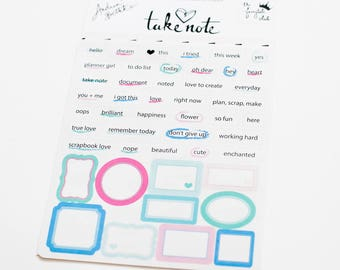 """Tiny Word and Label Stickers - """"Take Note"""" Collection"""