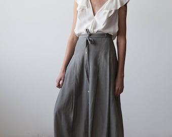 Vtg Gingham Maxi Skirt Button Down Front Full High Waist Belted 90s L