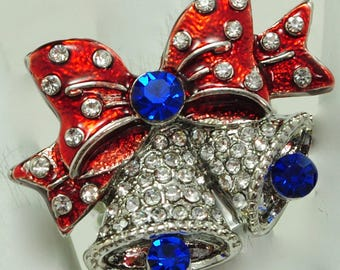 Petite Colorful Bell/Red/Blue/Rhinestone/Holiday/Christmas Jewelry/Stocking Stuffer/Secret Santa Gift/Adjustable/Under 12 USD