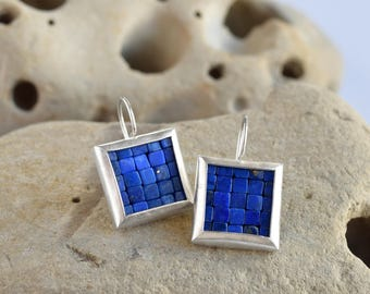 Mosaic Earrings - Lapis Lazuli Silver Earrings - Square Earrings - Ready To Ship - Mosaic Jewelry - Lapis Lazuli Earrings - Artesserae