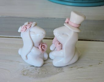 White and Pink Bunny Rabbit Couple Wedding Cake Topper