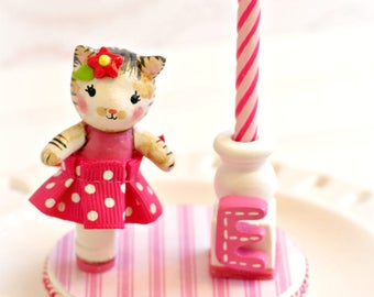 Cat Cake Topper, 1st Birthday Cake Topper Girl, Finger Puppet,Baby Shower Cake Topper,Birthday Candle Cake Topper,Kitty, Happy Birthday Cake