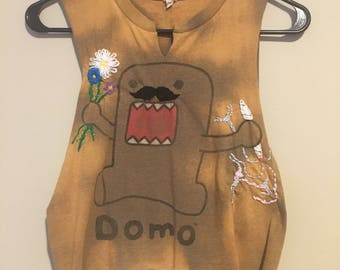 Domo with flowers and a joint, crop top, upcycled, hand embroidered, linoleum block print, wearable art