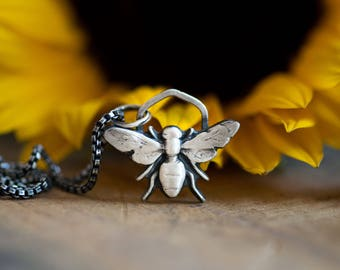 Bee Mine! Sterling Silver Bumble Bee Necklace Bee Pendant with Honeycomb Gift Idea for Her Gifts for Girlfriend Gift for Sister Mom Wife
