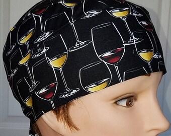 Black Cap With Glasses of Wine, Chemo Cap, Skull Cap, Hair Loss, Alopecia, Handmade, surgical, motorcycle, hat, Bald, head wrap,helmet liner