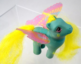 My Little Pony Buzzer Windy Wing Summer Butterfly Ponies Rare Green teal Yellow MLP G1 Vintage Kawaii Fairy Kei Bumble Bee