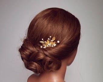 Leaf Hair Piece, Gold Hair Comb, Bridal Hairpiece, Leaf Vine Hair Comb, Gold Hair Pins, Pearl Hair Comb, Wedding Head Piece, Bridal Vine