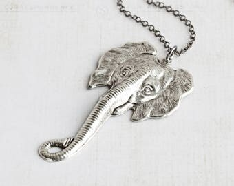 Large Antiqued Silver Plated Elephant Necklace on Gunmetal Black Chain