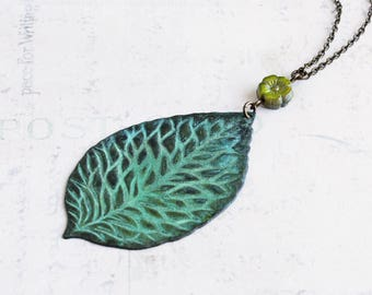 Large Verdigris Green Patina Leaf Pendant Necklace on Antiqued Brass Chain