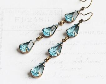 Long Aqua Blue Rhinestone Teardrop Dangle Earrings on Antiqued Brass Hooks (Vintage Glass)