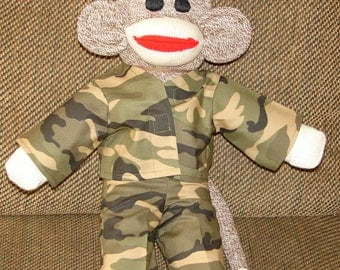Sock Monkey, Military Monkey, Army Monkey, Red Heel Sock Monkey, Stuffed Animal, Stuffed Monkey, Plushies