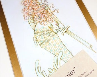 The Warrior - Mermay 2017 Limited Run Double Matted Giclee Print with Story Scroll