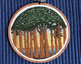 Trees by a Lake Needlepainting Hoop Art Wall decor
