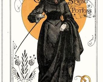 Halloween Panel - Queen of Ween Panel - Vintage Halloween Fabric Panel - Halloween Quilt Panel