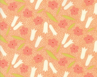 Fig Tree Fabric - Ella and Ollie Fabric Yardage - Moda Quilt Fabric - Apricot - Coral Floral Fabric By The 1/2 Yard -