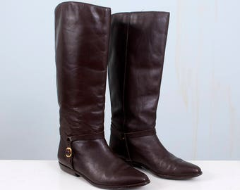 90's Dark Brown Leather Riding Boots Tall Knee-high Harness Buckle Hipster Women's Size 9