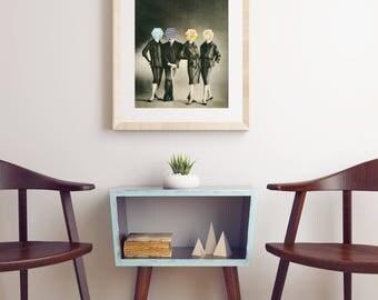 Geometric Art Print, Vintage Fashion Art, Surreal Collage - Modern Fashion