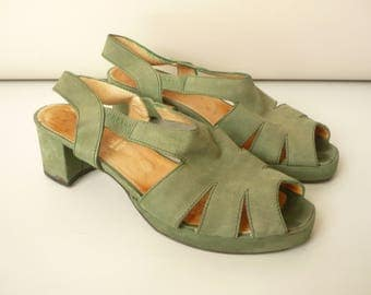 1980's Vintage Marilyn Anselm Hobbs Green Suede Leather Sandals Shoes Size UK 6 EURO 39