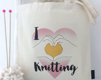 I Heart Knitting | Knitting Project Bag | Knitting Bag | Knitting Storage | Knitting Accessories