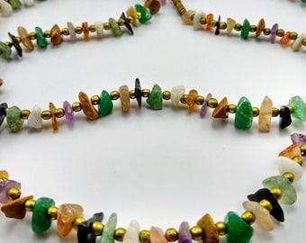Vintage Polished Gemstone Chip Necklace -255V