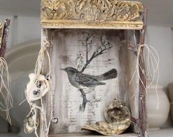 FRENCH BIRD Nesting Box, Vintage wood, Bird Theatre, Ephemera, Mixed Media, Shadow box, Jeanne d Arc Living style, Cottage.