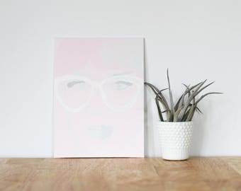 """pink acrylic painting, """"elsie larson"""" - are you my bestie, flat 6x8 canvas, home decor, gift for friend, best friends, portrait, bridesmaid"""