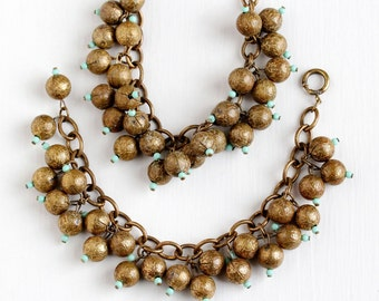 Sale - Vintage Art Deco Brass Matching Bib Necklace & Bracelet Set - 1930s Round Ball Drop Charms Teal Glass Beads Boho Statement Jewelry