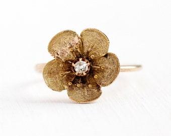 Antique Flower Ring - 14k & 10k Rosy Yellow Gold Diamond Stick Pin Conversion - Size 5 1/4 Vintage Victorian Era Fine Floral Petals Jewelry