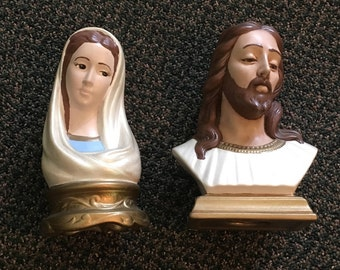 Holland Mold Jesus and Mary Statuettes Ceramic Religious Collectibles