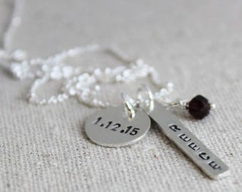 stamped nametag and date necklace | push present | new mom gift | birthstone necklace | mothers necklace | birthdate necklace