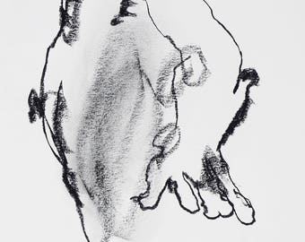 """Minimal and Abstract Figure Drawing - Figure 19 - 9 x 12"""" charcoal on paper - original drawing by Derek Overfield"""