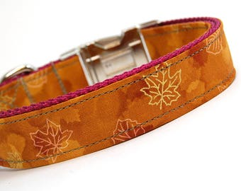 Handmade Dog Collar - Fall Frolic in Copper - Fall Dog Collar - Forest Dog Collar with Golden Leaves