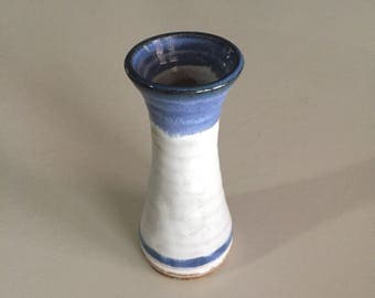 Stoneware Vase/ Studio Pottery/ Small Blue and White Vase/ Blue Vase/Bud Vase/By Gatormom13