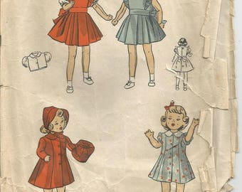 1940s Doll Clothes Pattern 14 Inch Doll Clothes Dress Pinafore Blouse Coat Hat Muff DuBarry 5764 Vintage Doll Clothes Sewing Pattern