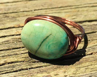 turquoise blue Magnesite stone , antique copper wire wrapped Ring - size 11 - rustic blue gemstone handmade - women men jewelry
