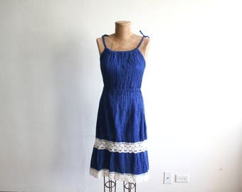 Blue Cotton Crochet Mexican Dress xs/s