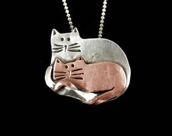 Kitty Lover's Jewelry, Sterling Cat Necklace, Unusual Jewelry Gift For Women, Robin Wade Jewelry, Kitties Willow And Loki Are Friends, 2482