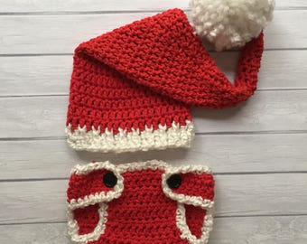 Newborn Santa hat and diaper cover Photography prop Christmas hat