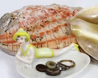 Art Deco Flapper Bathing Beauty Porcelain Seashell Pin Ring Dish Germany Yellow Bathing Suit